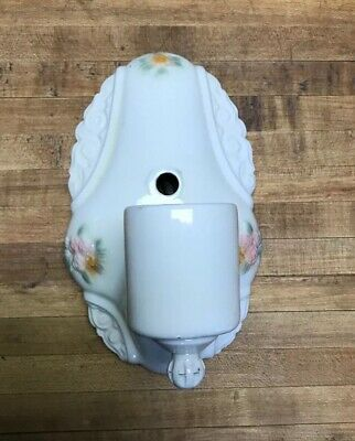 Vintage Antique Porcelain Sconce Wall Fixture Light Bathroom Floral Outlet