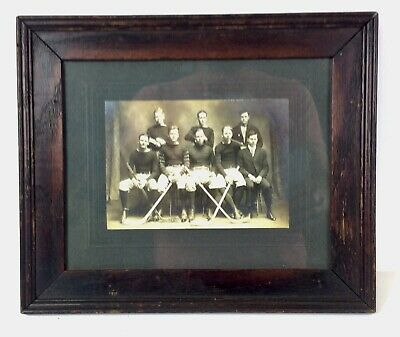 Antique EARLY 1900'S Hockey Team Photo in STAINED Oak Frame 10.5X12.5