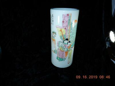 Antique Chinese Famille Rose Porcelain cylinder vase 11 inch 18th century style