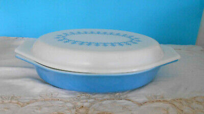 Vintage Pyrex, Milk Glass Snowflake divided dish, complete with lid -