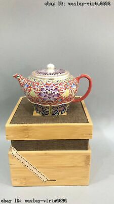 Chinese Enamel Filigree Painted Porcelain Pottery Purple Sand Teapot Pot CQ092