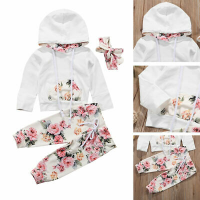 UK Newborn Kid Baby Girl Clothes Hooded Tops Pants Infant Outfits Sets Tracksuit