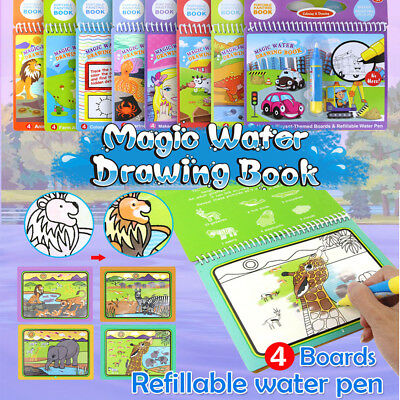 Magic Water Drawing Book Pen Coloring Book Numbers Letters Animals Kids Painting