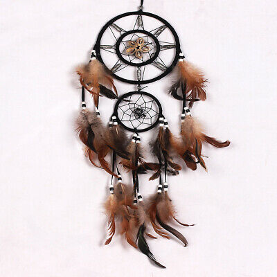 Brown Dream Catcher With feathers Hanging Wall Decoration Decor Ornament Gift