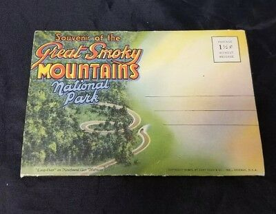 Souvenir of the Great Smoky Mountains Postcards 18 Views, 1940, Tennessee Teich