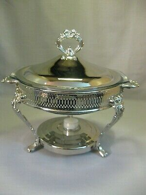 Leonard Silver Plate Casserole Dish Warmer Glass Insert 3 Footed Pierce Design
