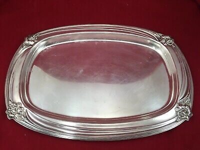 1847 Rogers Bros Ornate Silver Plate 1950 Daffodil Large Serving Dish Tray 9909