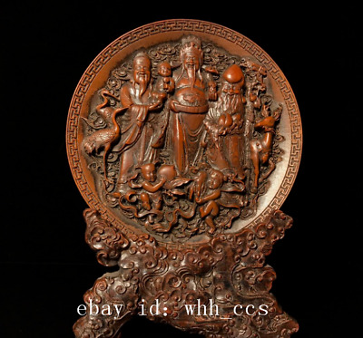 "9"" Collection Asia China antique Boxwood carving Fu Lu Shou statue"