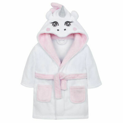 Babies Baby Girl Soft Fluffy White Hooded Unicorn Dressing Gown Bath Robe 6-24 m