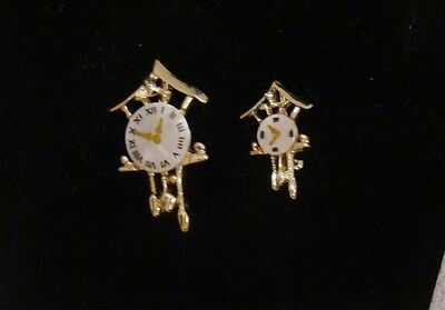 Vintage Lot of 2 Cuckoo Clock Pins, Gold-Toned and Pearlized Faces, Collectible
