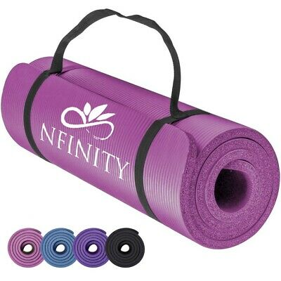 Yoga Mat for Pilates Gym Exercise 10mm Thick Carry Strap Large Comfortable NBR