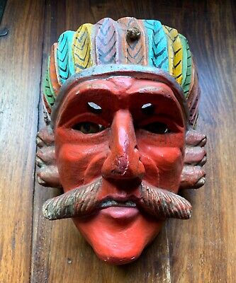 Antique Wooden Mask With Glass Eyes, From Mexico Or Guatemala