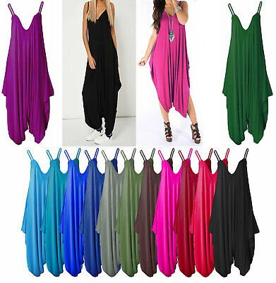 New Women's Ladies Cami Strappy Harem Romper Baggy Oversize Jumpsuit