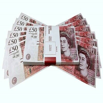 Movie Prop 100x 50 Notes Realistic UK Pounds Money Look Like Real Fake GBP
