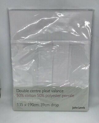 John Lewis Double Centre Pleat Valance Sheet, White, Cotton/Polyester
