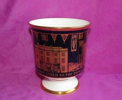 Large Coalport China Commemorative Goblet Black & Gold Birth of Prince William