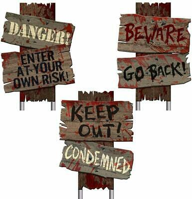 3 Pc Beware Halloween Scary Yard Stake Signs Plastic Wooden Look Realistic Blood
