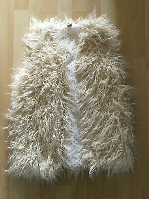 Girls Aged 9 - 10 Years Cream Faux Fur Sleeveless Jacket by TU
