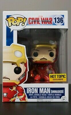 Funko Pop Captain America Civil War Iron Man Unmasked (Hot Topic Exclusive)