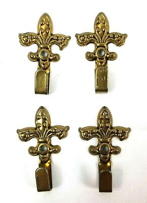 Antique Brass Picture Hanging Hooks Fleur-De-Lis Lot of.4