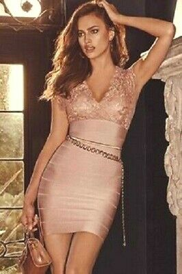 NWT bebe blush pink straps v neck lace bandage sexy top skirt dress S Small