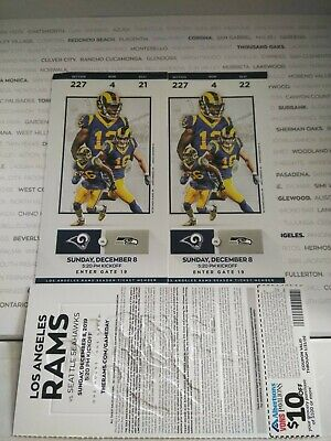 2 Tickets Seattle Seahawks @ vs Los Angeles RAMS 12/8 Section 227 row 4