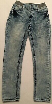 JORDACHE Girls Jean LEGGINGS Acid Washed Size M (7-8) Silver Waistband / EUC
