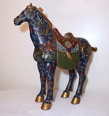 LARGE antique hand carved polychromed wooden Chinese horse sculpture statue wood