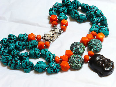 Chinese Natural Turquoise, Coral Bead Necklace Pendant, Sterling Silver Clasp