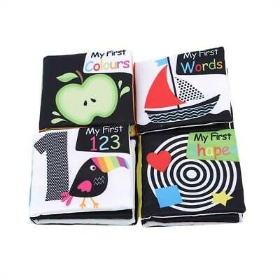 Baby First Soft Activity Cloth Book Set High Contrast Black And White Crinkle SH