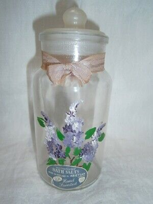 Collectable Vintage English Bath Salts Jar With Handpainted Lilac Flowers