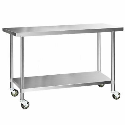 Cefito 304 Stainless Steel Kitchen Benches Work Bench Food Prep Table with Wheel