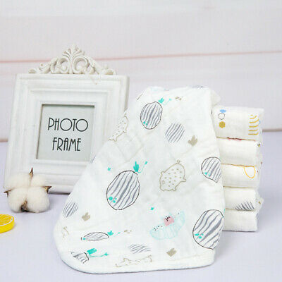 100% Cotton Muslin Squares Baby Bibs Cloths Soft Printed Reusable Baby Bib Wipes