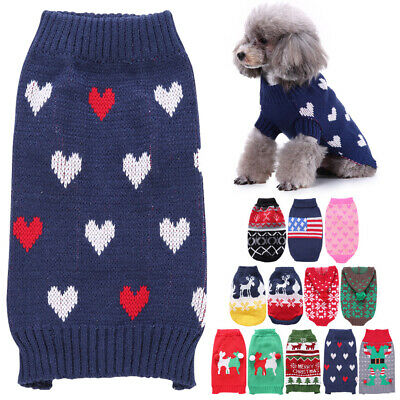 Knit Dog Jacket Sweater Pet Cat Puppy Coat Clothes Small Warm Costume Apparel