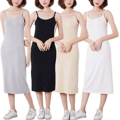 Women Cling Resistant Petticoat Long Underdress Full Slip Lingerie Nightdress