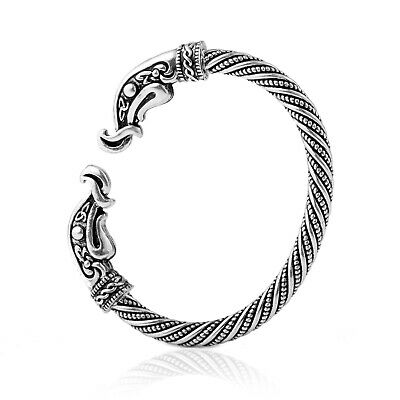 Gothic Ancient Head Cuff Bangle Irish Celtic Knot Twisted Metal Bracelet for Men