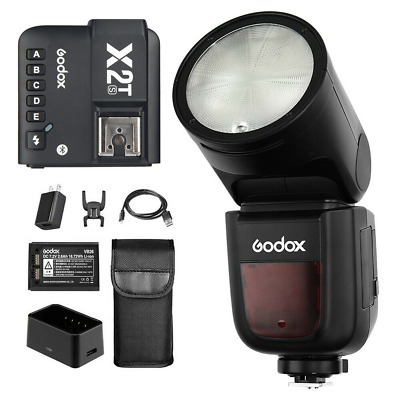 Godox V1-S 2.4G TTL 1/8000s On-Camera Round Flash + X2T-S Flash Trigger for Sony