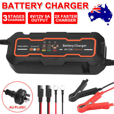 Faster Smart Battery Charger 5A 12V/6V Automatic SLA Motorbike Car Boat AGM