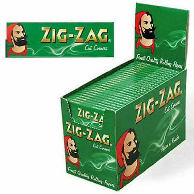 Zig Zag Green Regular Size Rolling Papers Cut Corners Cigarette Joint Rollers