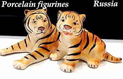 Tigers porcelain figurines Russia decorative figures wild animals hand painted
