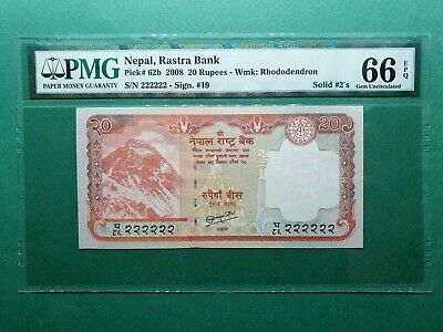 2008 NEPAL CENTRAL Bank 20 Rupees Note SCWPM# 62 PCGS GEM