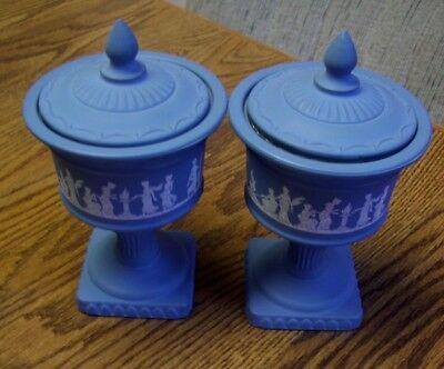 """Two Vintage Avon Glass Candle Holders (Blue/White Roman Figurative) 7"""" Tall"""