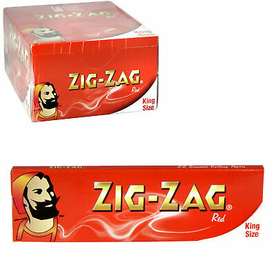 1 5 10 25 50 Zig Zag King Size Genuine Red Smoking Cigarette Rolling Papers