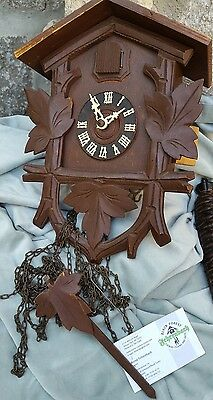German Black Forest Fehrenbach Cuckoo Clock Bird 2 500 ET Pine Weights Germany