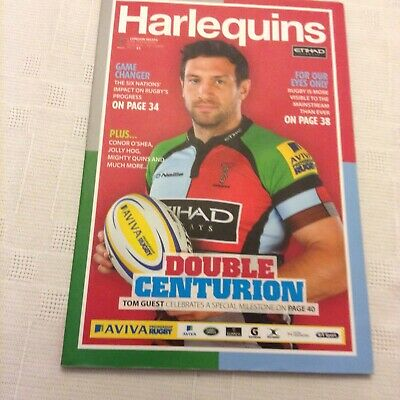 rugby union programmes Harlequins V Wasps 9th February 2014