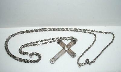 Antique Christian Jewelry Sterling Silver 84 Cross Necklace Chain Stamped 77 gr