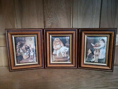 Vintage Set Of 3 Silk Screen Pictures 19th Century Family Scenes Consort Picture