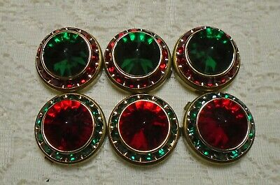 6 Piece Vintage Green & Red Rhinestone Brass Tone Button Covers Lot