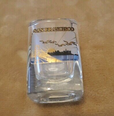 New San Francisco square heavy Shot glass Frosted bridge skyline travel souvenir
