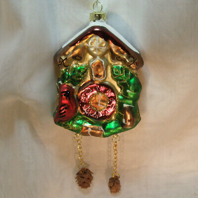 """Black Forest Cuckoo Clock Vtg Christmas Tree Glass Ornament 7"""" Large Germany"""